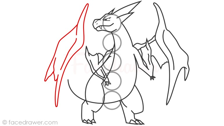 how to draw mega charizard y step 15