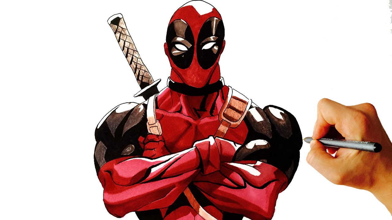 How to draw Deadpool from marvel easy step by step drawing ...Deadpool Sketch