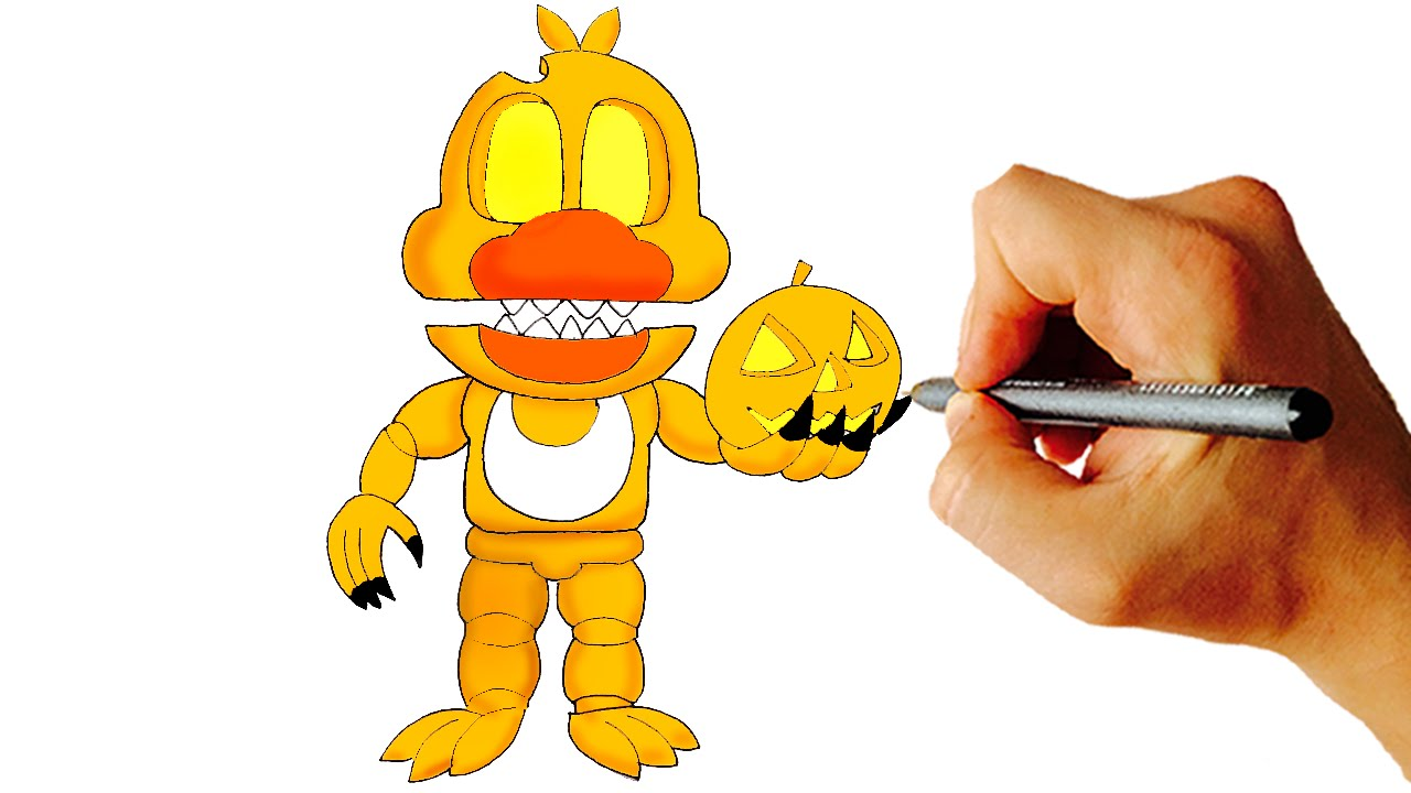 how to draw jack o chica from fnaf world characters easy step by