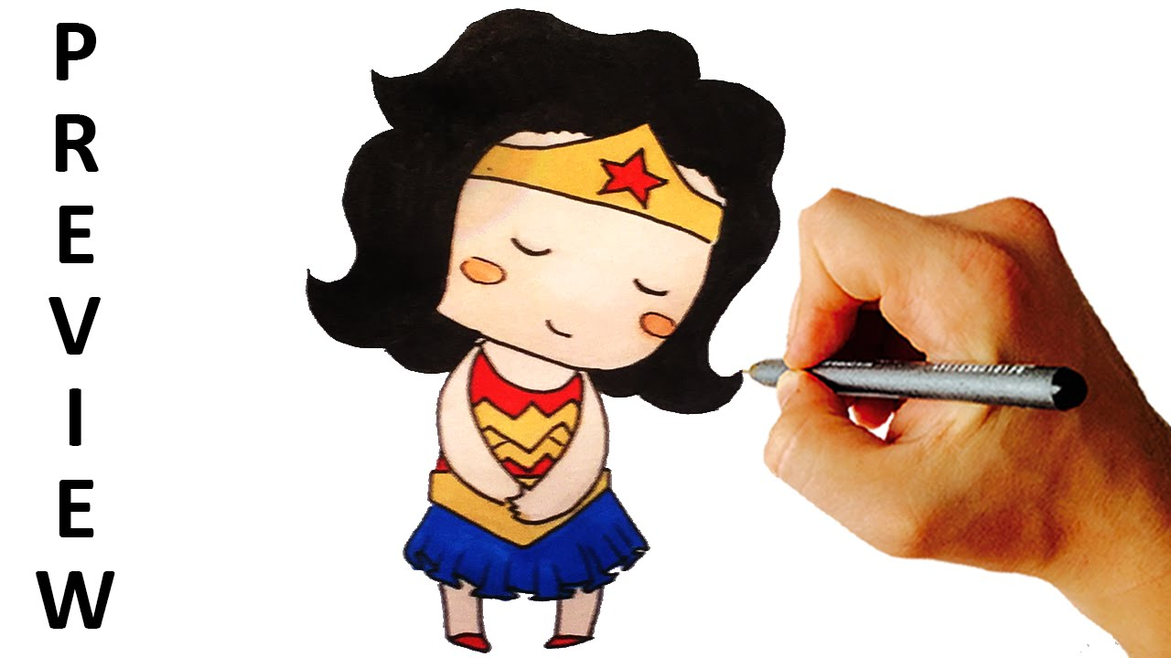 How To Draw Wonder Woman Chibi From DC Comics Heroes Easy