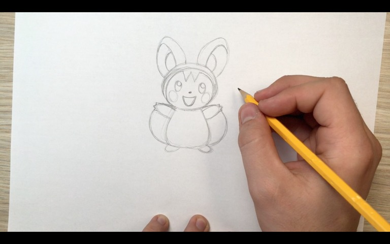 emolga pokemon drawing lesson step 10