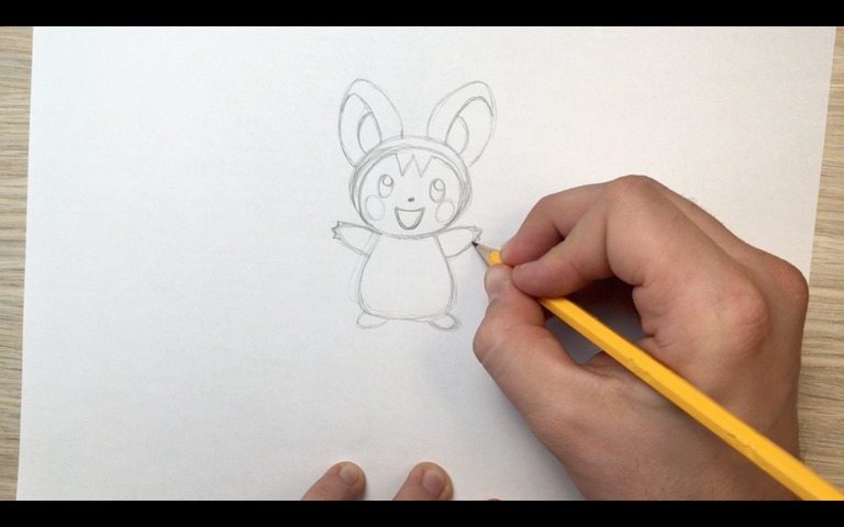 emolga pokemon drawing lesson step 9