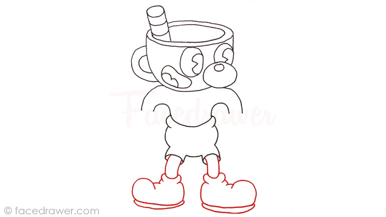 how to draw mugman cuphead step 11