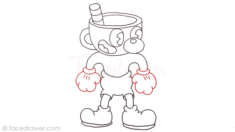 how to draw mugman cuphead step 12