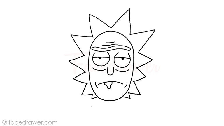 how to draw rick from rick and morty step 8