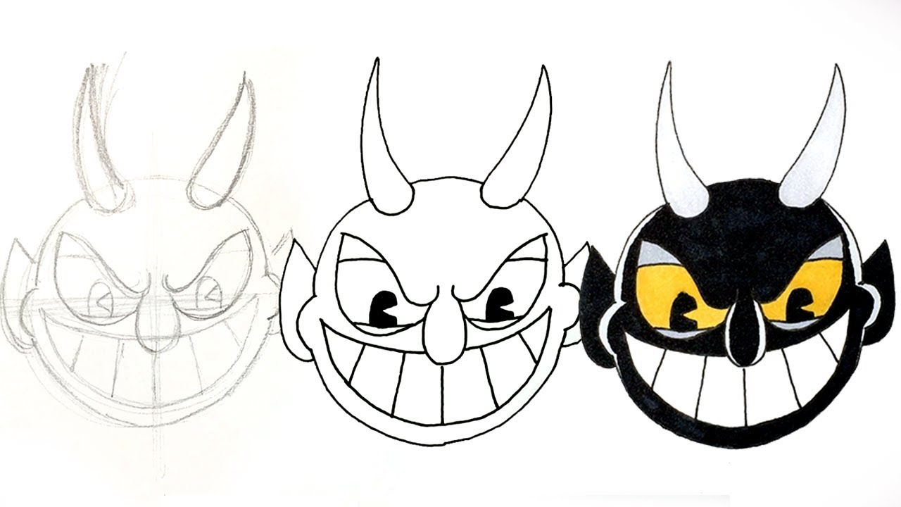 How To Draw The Devil From Cuphead Step By Step Facedrawer